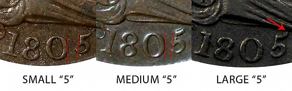 1805 Small 5 vs Medium 5 vs Large 5 Draped Bust Half Cent - Difference and Comparison