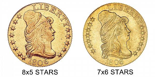 1806 8x5 Stars vs 7x6 Stars - $5 Turban Head Gold Half Eagle - Difference and Comparison