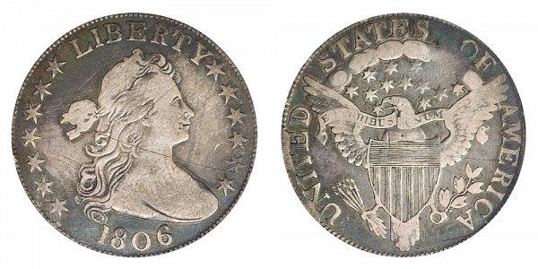 1806 Draped Bust Half Dollar - Knobbed 6 - No Stem Through Claw