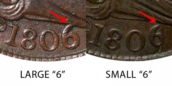 1806 Large 6 vs Small 6 Draped Bust Half Cent - Difference and Comparison