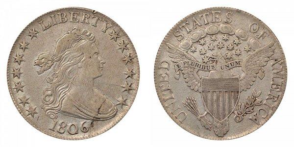 1806 Draped Bust Half Dollar - Pointed 6 - No Stem Through Claw