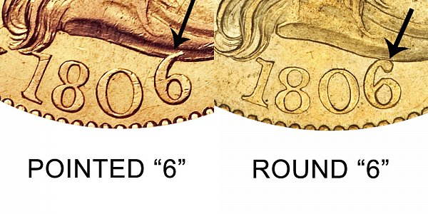 1806 Pointed 6 vs Round 6 - $5 Turban Head Gold Half Eagle - Difference and Comparison