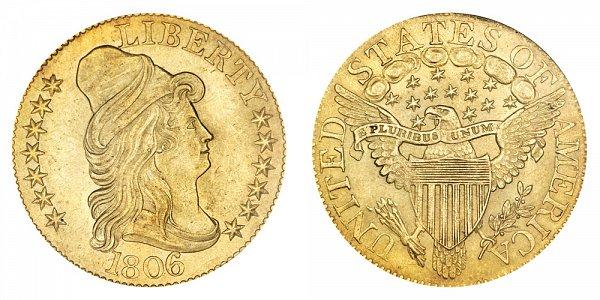 1806 Round 6 - Turban Head $5 Gold Half Eagle - Five Dollars