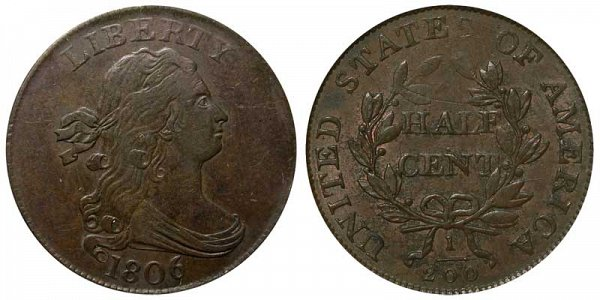 1806 Draped Bust Half Cent Penny - Small 6 - With Stems