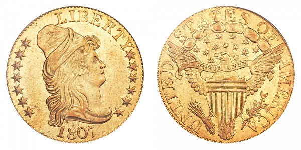 1807 Turban Head $5 Gold Half Eagle - Five Dollars - Head Facing Right