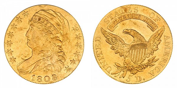 1808/7 Capped Bust $5 Gold Half Eagle - Five Dollars