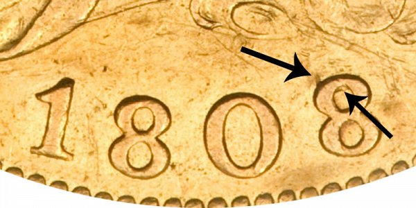 1808/7 Capped Bust Gold Half Eagle - 8 Over 7 Overdate - Closeup Example Image