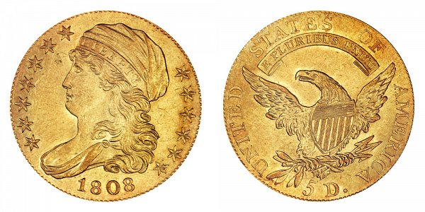 1808 Capped Bust $5 Gold Half Eagle - Five Dollars - Head Facing Lef