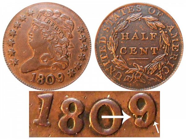 1809/9 or 1809/6 Classic Head Half Cent Penny - 9 Over Inverted 9 Overdate Error