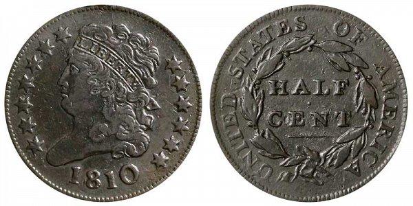 1810 Classic Head Half Cent Penny