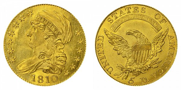 1810 Large Date - Large 5 - Capped Bust $5 Gold Half Eagle - Five Dollars