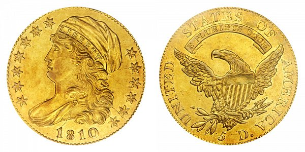 1810 Small Date - Small 5 - Capped Bust $5 Gold Half Eagle - Five Dollars