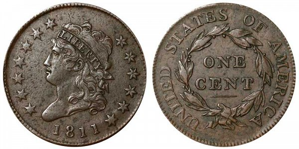1811 Classic Head Large Cent Penny - Normal Date