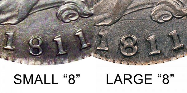 1811 Small 8 vs Large 8 Capped Bust Half Dollar - Difference and Comparison