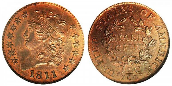 1811 Classic Head Half Cent Penny - Unofficial Restrike Reverse of 1802