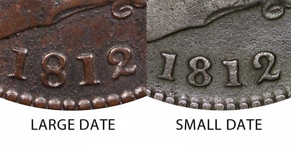 1812 Large Date vs Small Date Classic Head Large Cent - Difference and Comparison