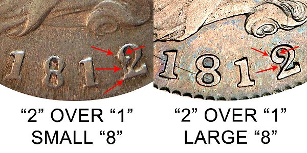 1812 Small 8 vs Large 8 Capped Bust Half Dollar - Difference and Comparison