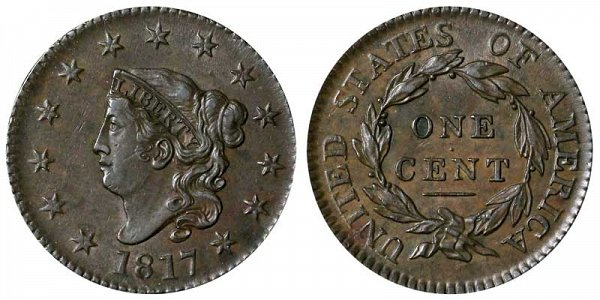 1817 Coronet Head Large Cent Penny - 13 Stars