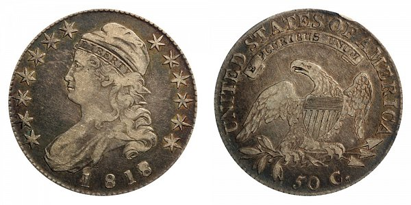 1818/7 Small 8 Capped Bust Half Dollar - 8 Over 7 Overdate