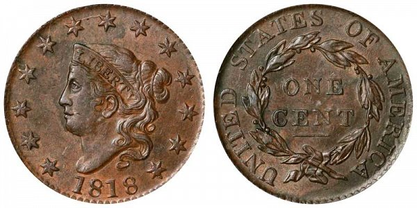 1818 Coronet Head Large Cent Penny