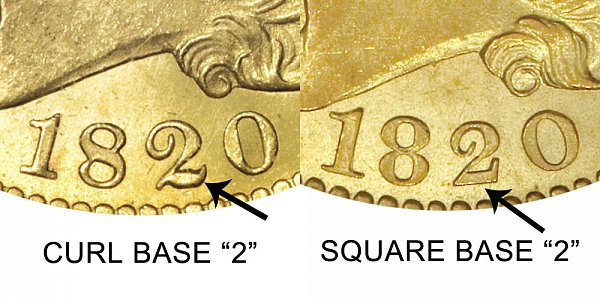 1820 Curl Base 2 vs Square Base 2 - $5 Capped Bust Gold Half Eagle - Difference and Comparison