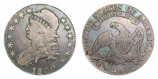 1820 Capped Bust Half Dollar - Curl Base 2 - Small Date