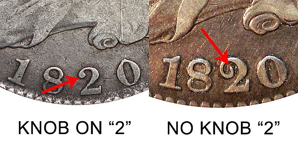 1820 Knob 2 vs No Knob 2 Capped Bust Half Dollar - Difference and Comparison