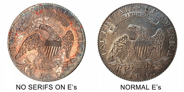 1820 No Serifs on E vs Normal Reverse Capped Bust Half Dollar - Difference and Comparison