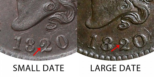 1820 Small Date vs Large Date Coronet Head Large Cent - Difference and Comparison