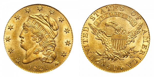 1821 Capped Bust $5 Gold Half Eagle - Five Dollars