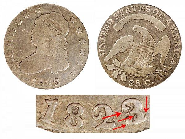 1823/2 Capped Bust Quarter - 3 Over 2 Overdate Error