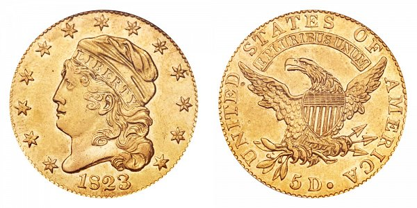 1823 Capped Bust $5 Gold Half Eagle - Five Dollars