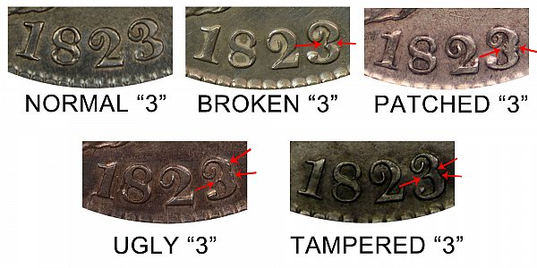 1823 Capped Bust Half Dollar - Normal vs Broken vs Patched vs Ugly vs Tampered 3 Difference and Comparison