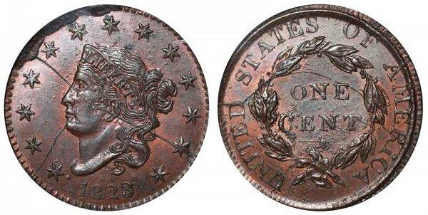 1823 Coronet Head Large Cent Penny - Unofficial Restrike - Broken Die