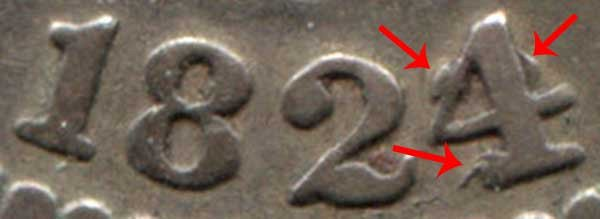 1824/2 4 Over 2 Capped Bust Dime Overdate Error