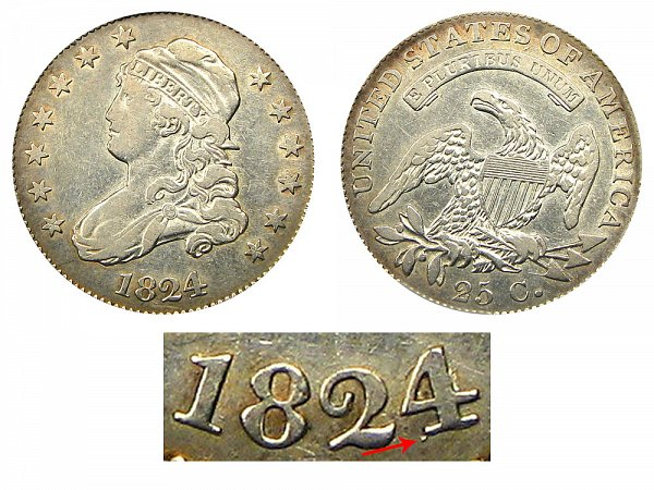 1824/2 Capped Bust Quarter - 4 Over 2 Overdate Error