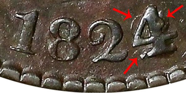 1824/2 Coronet Head Large Cent Penny - 4 Over 2 Overdate Error
