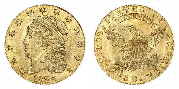 1824 Capped Bust $5 Gold Half Eagle - Five Dollars