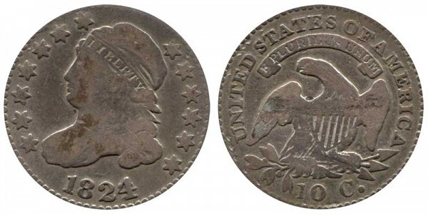 1824/2 Capped Bust Dime - Flat Top 1