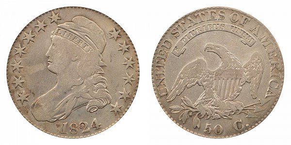 1824 capped Bust Half Dollar Varieties - Difference and Comparison