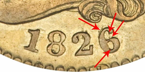 1826/6 6 Over 6 Capped Bust $2.50 Gold Quarter Eagle - Closeup Example Image