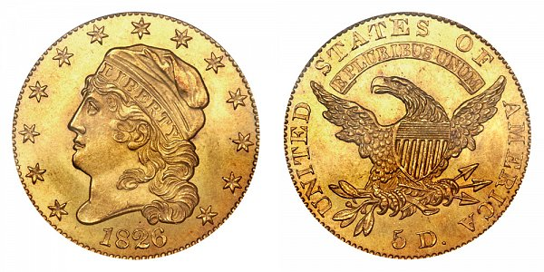 1826 Capped Bust $5 Gold Half Eagle - Five Dollars