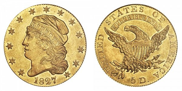 1827 Capped Bust $5 Gold Half Eagle - Five Dollars