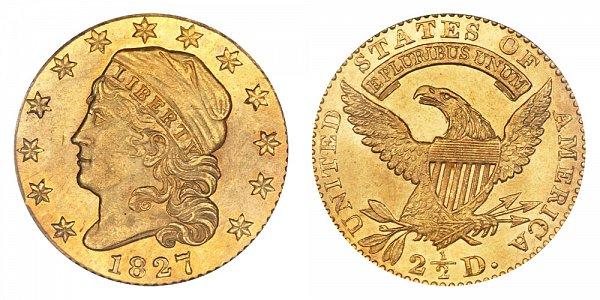 1827 Capped Bust $2.50 Gold Quarter Eagle - 2 1/2 Dollars
