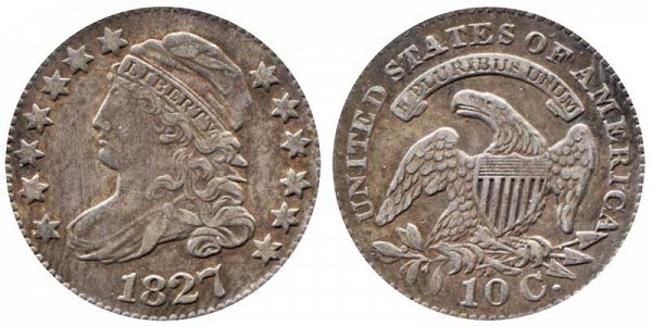 1827 Capped Bust Dime - Pointed Top 1