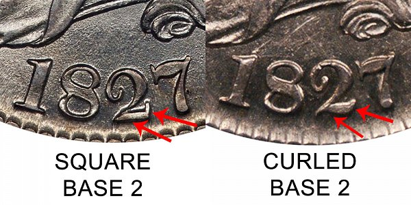 1827 Capped Bust Half Dollar Varieties - Difference and Comparison