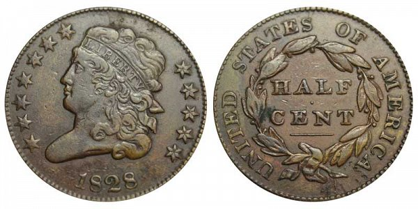 1828 Classic Head Half Cent Penny - 12 Stars