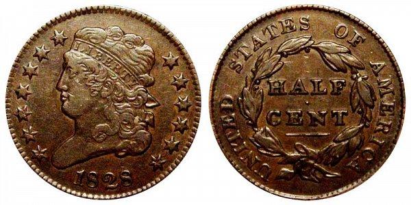 1828 Classic Head Half Cent Penny - 13 Stars