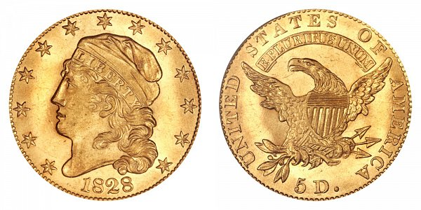 1828 Capped Bust $5 Gold Half Eagle - Five Dollars