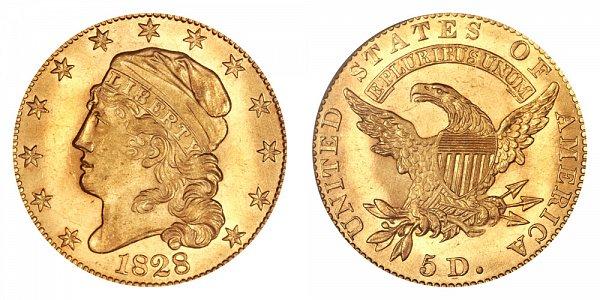 1828 Capped Bust $5 Gold Half Eagle - Five Dollars